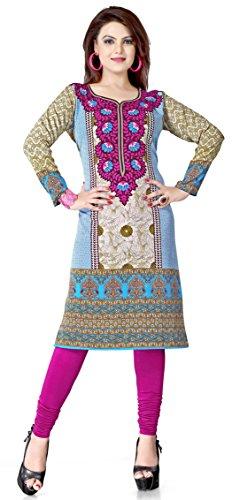 Womens-Long-India-Tunic-Top-Kurti-Printed-Blouse-Indian-Clothing