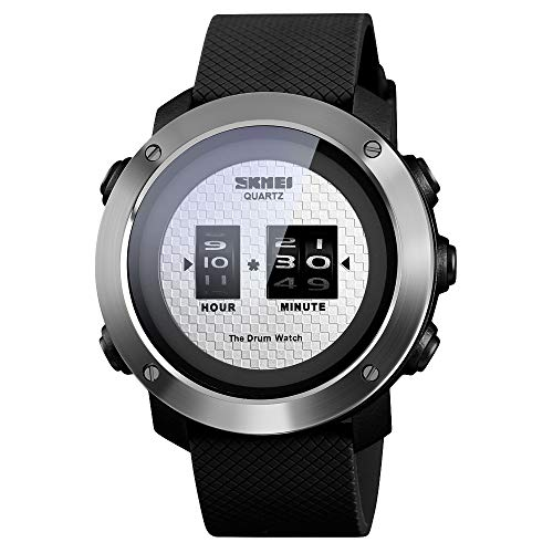 SKMEI Mens Digital Sports Watch, Creative Drum Watches Outdoor Waterproof Black Large Face Wristwatch for Men