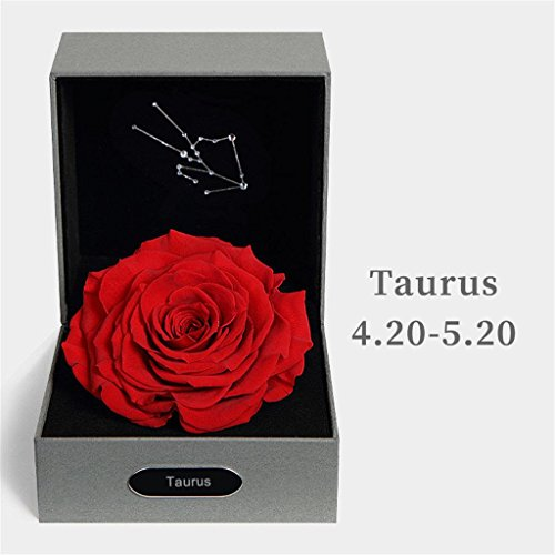P-H BALSCW Preserved Fresh Flower 12 Constellation Eternal Rose for Birthday Girl Creative Gifts, Taurus taurus4.20-5.20