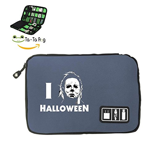 Zihoco Stylish Data line Storage Bag,I Love Halloween Electronics Accessories Travel Bag Gray ()