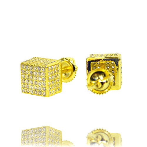 Hip Hop Faux Diamond Stud Earrings (Beaute Fashion .925 Sterling Silver CZ 3D Square Box Pave Stud Earrings CZ STONES ON ALL SIDES - Gift Boxed (Gold Tone))