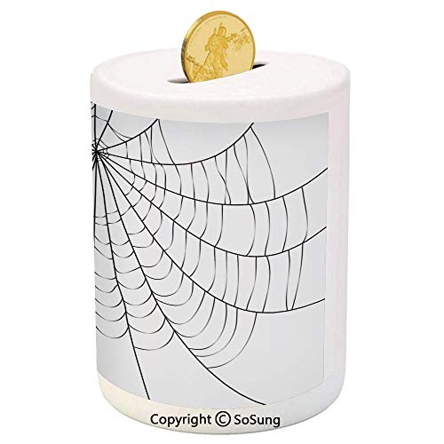 Spider Web Ceramic Piggy Bank,Close Up Cobweb Design Monochrome Design Elements Catching Network Fear Decorative 3D Printed Ceramic Coin Bank Money Box for Kids & Adults,Grey Black White ()