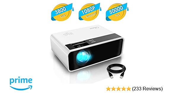 Mini Projector, CiBest Video Projector 3800 lux with 50,000 hrs Long Life LED Portable Home Theater Projector 1080P Supported, Compatible with Fire TV ...