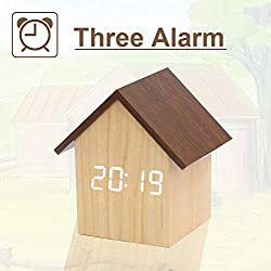 【Upgraded House Style Design】 Digital Alarm Clock, with Wooden Electronic LED Time Display, Dual Plus Upgraded 3 Alarms, Small Mini Wood Made Clock for Bedroom, Bedside, Office, Yellow