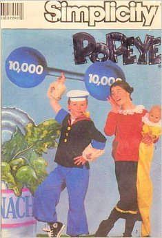 Simplicity 8831 Popeye and Olive Oyl Costume Pattern, Adult Size Medium, Chest 36 to 38, Sweet Pea Costume Pattern Included Baby Size up to 18 Months or Doll up to (Popeye And Olive Oyl Sweet Pea Costumes)