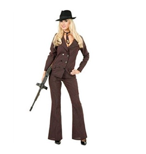 Charades Gangster Moll Suit Costume Black/Red Large -