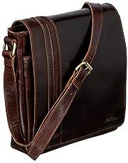 Red Baron Ferrara Herren-Damen Umh?nge-Tasche Klein - Echtes Rinds-Leder - Handtasche Mini Messenger-Bag Schultertasche Braun - RB-BG-002-06