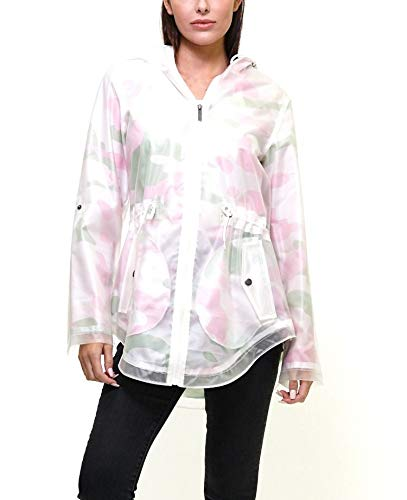 Closure Womens Jackets - Members Only Women's Yatch Long Lightweight Jacket with Zipper Closure - Pink Camoflauge M