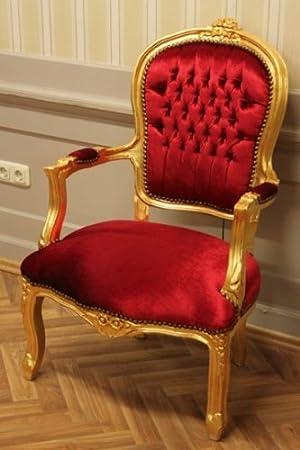 LouisXV Silla barroco, oro batir, terciopelo rojo: Amazon.es ...