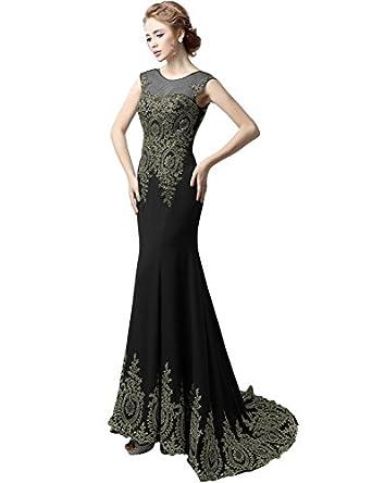 Sarahbridal Womens Long Chiffon Mermaid Appliques Evening Dress Prom Gown XU039