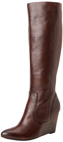 FRYE Women's Regina Wedge Tall Boot,Dark Brown,8 M US