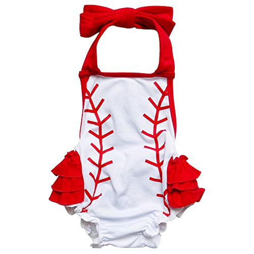 So Sydney Girls Toddler Baseball Stitch Summer Dress, Ruffle Baby Bubble Romper (M (6-12 Months), Baseball Bubble Romper)