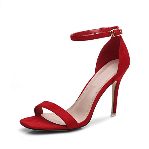 Per Casual Tacco Ruiren Le Alto Aperte Donna 7cm Alla Signore rosso Tallone Sandali Da Caviglia Scarpe vaFqC