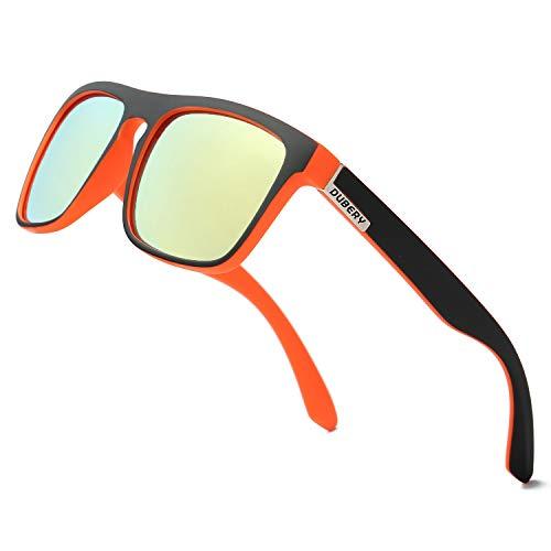 DUBERY Classic Polarized Sunglasses for Men Women Retro 100% UV Protection Driving Sun Glasses D731,Black&Orange/Yellow (Polarized Orange Sunglasses)