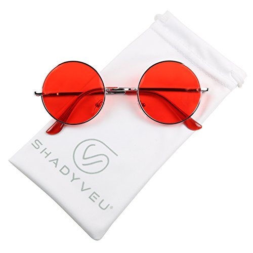 ShadyVEU - Retro Colorful Tint Lennon Style Round Groovy Hippie Wire Sunglasses (Red Lens, - Hipster Shades