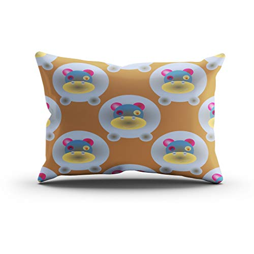 Janyho Throw Pillow Cover Childish Like Colored Lovely Hippo Comfortable Print Sofa Bedroom Polyester Hidden Zipper Pillowcase Cushion Cover Lumbar 12x24 Inch]()