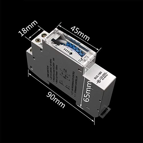 RETYLY Sul180A 15 Minutes Minuterie M/écanique 24 Heures Programmable Rail Din Minuterie Commutateur De Relais Mesure Analyse Instruments Nouveau