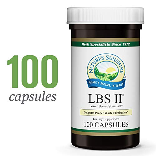 Nature's Sunshine LBS II, 100 Capsules, Kosher | Herbal Laxative with Cascara Sagrada Bark Supports The Digestive System and Lower Bowel - Caffeine Free Formula Healing