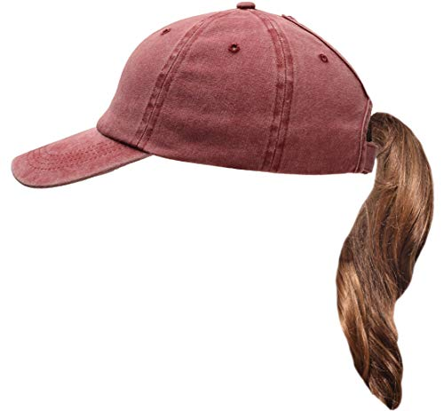 Beurlike Ponytail Baseball Cap High Bun Ponycap Adjustable Mesh Trucker Hats (Washed Cotton - Red)