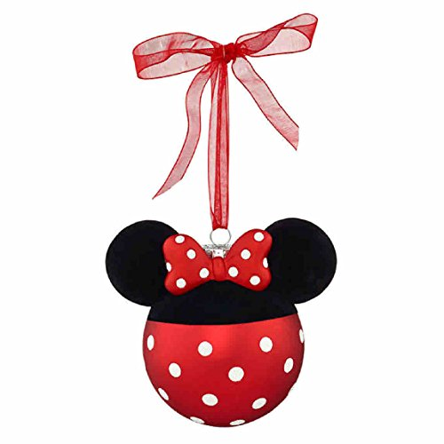 Disney Minnie Mouse OR Mickey Mouse Glass Christmas Ornament (Minnie)