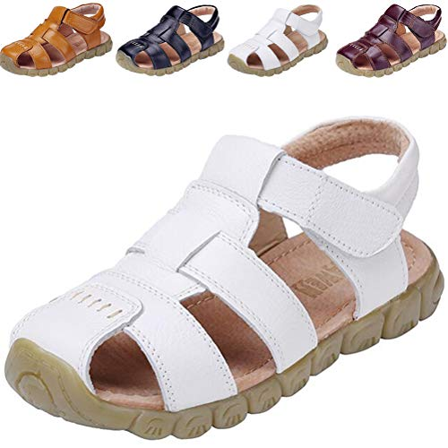 DADAWEN Boy's Girl's Leather Closed Toe Outdoor Sport Sandals (Toddler/Little Kid/Big Kid) White US Size 11 M Little Kid