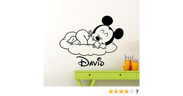 Mickey Minnie Mouse Wall Art Decal Sticker Personalized Boys Nombre de F/útbol Mickey Mouse Con Vinilo Etiqueta de La Pared Nursery Para Ni/ños Habitaciones decoraci/ón