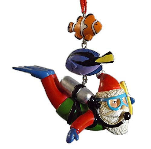 On Holiday Scuba Santa with Air Tank, Fins, Goggles, Snorkle, Fish Christmas Tree Ornament (Christmas Fish Tropical Ornaments)