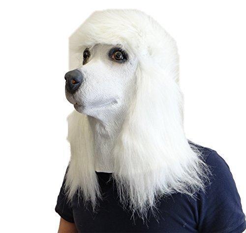 White Poodle Dog Mask Latex Overhead Animal Fancy Dress Canine Costume Pet