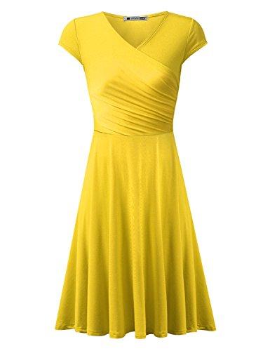 Yellow Tunic Dress (URBANCLEO Womens Cap Sleeve V Neck T-shirt Tunic Mini Dress Yellow 3XLARGE)