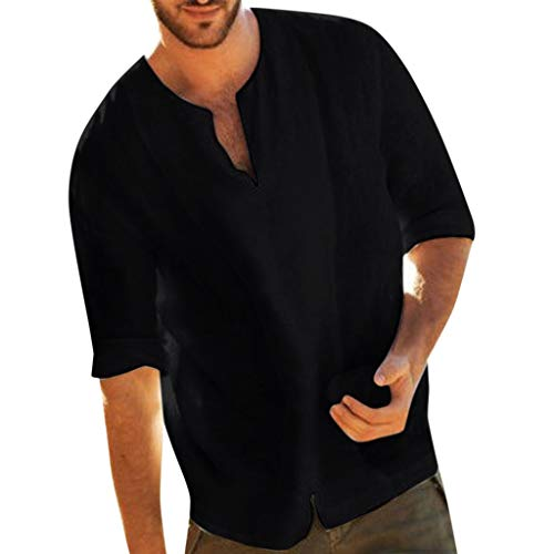 (Fastbot Men Shirts Short Sleeve Polo Shirt Slim fit Baggy Cotton Linen Solid Color 3/4 Sleeve V Neck Tops Blouses Black)