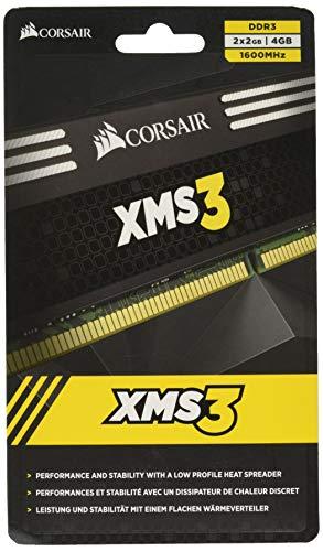 Corsair CMX4GX3M2A1600C9 XMS3 4GB (2x2GB) DDR3 1600 MHz (PC3 12800) Desktop Memory 1.65V