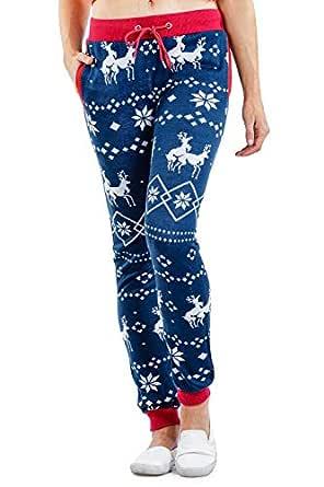 Tipsy Elves Women's Blue Reindeer Joggers - Comfy Cute Sweat Pants: XS