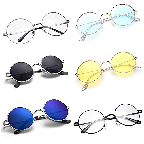CREEK Unisex Adult Round Sunglasses (Assorted Frame, Assorted Lens) (Free Size) – Pack of 6