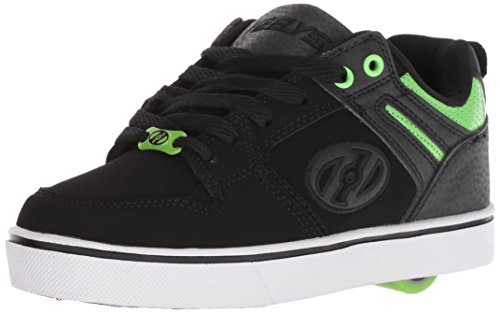 Heelys Boys' Motion 2.0 Tennis Shoe, Black/Bright Green, 6 Medium US Big Kid