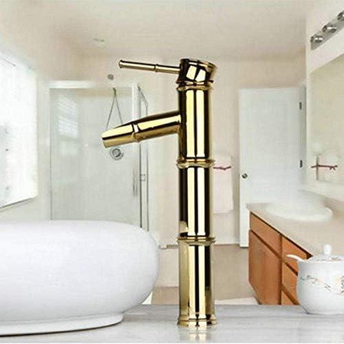CLJ-LJ タップ滝黄金の蛇口流域浴室竹デザインのデッキの取付けハンドルシンク蛇口ミキサータップ