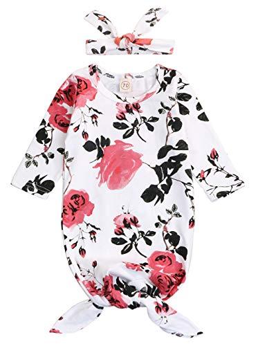(Mini honey Newborn Baby Sleepy Floral Striped Gown Headband Sleepwear Romper Sleeping Bags (3-6 Months, White 02) )