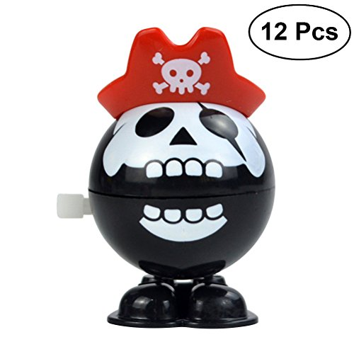 BESTOYARD 12pcs Halloween Skull Pirate Wind Up Chattering Teeth Toys Halloween Party Favors Gifts -