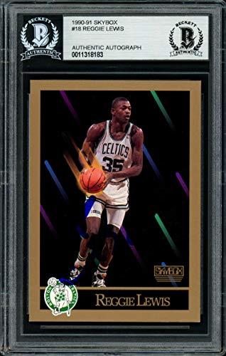 Reggie Lewis Autographed 1990-91 Skybox Card #18 Boston Celtics Beckett BAS #11318183 - Beckett Authentication