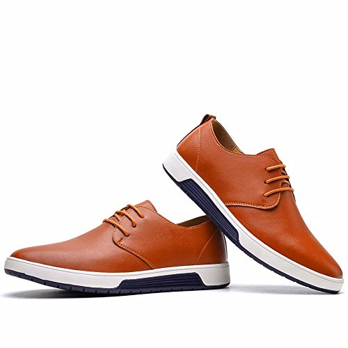 KONHILL Men's Casual Oxford Shoes Breathable Flat Fashion Lace-up Dress Shoes, Brown, 45 by KONHILL (Image #4)