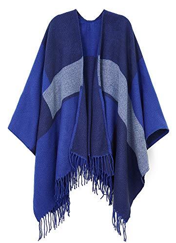 Womens Acrylic Pashmina Splicing Poncho Cardigan Blue