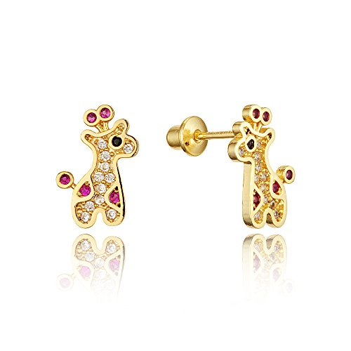 14k Gold Plated Brass Giraffe Cubic Zirconia Screwback Baby Girls Earrings with Sterling Silver Post (14k Giraffe Gold Yellow)