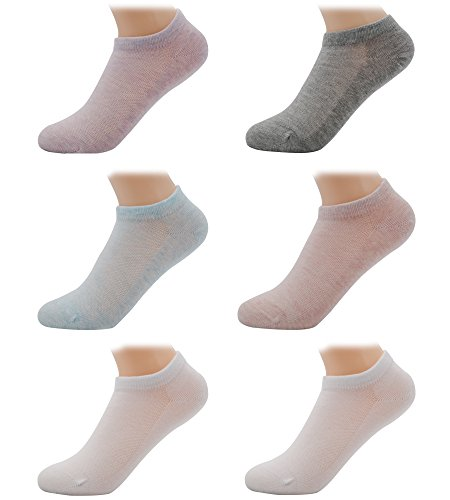 Girls Mesh Thin Cotton Athletic No Show Socks, Assorted Color, 6-8T, (6-Pack)