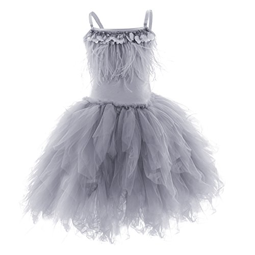 OBEEII Little Girl Swan Princess Feather Fringes Tutu Dress Pageant Party Wedding Dance Perforance Formal Short Tiered Gown Gray 12-18 Months -