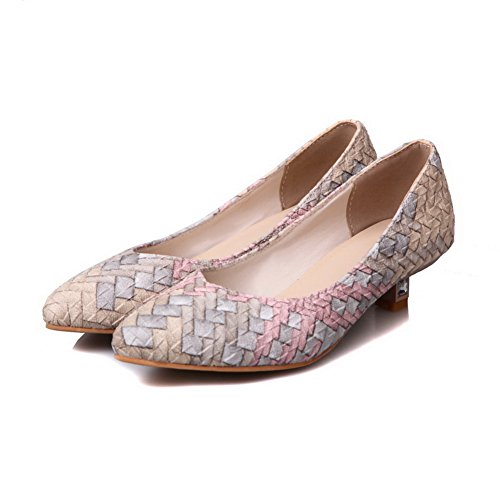 BalaMasa Womens Two-Toned Low-Cut Uppers Pointed-Toe Urethane Pumps Shoes Lightpink wzJPxlj3m