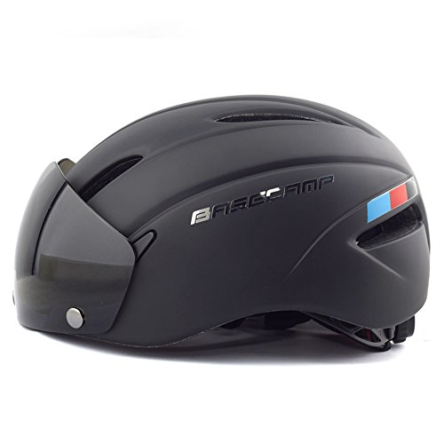 Base Camp Cycling Bike Helmet with Removable Shield Visor - Adjustable M L Size 22-24 Inches (Matte Black)