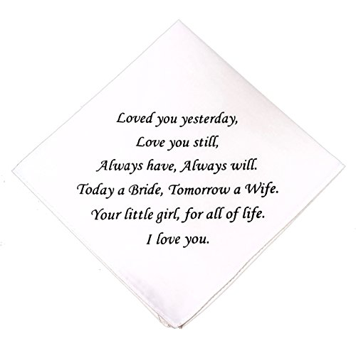 Father of the Bride Wedding Handkerchief- Father of the Bride Gift- Mother of the Bride Gift by Wedding Tokens
