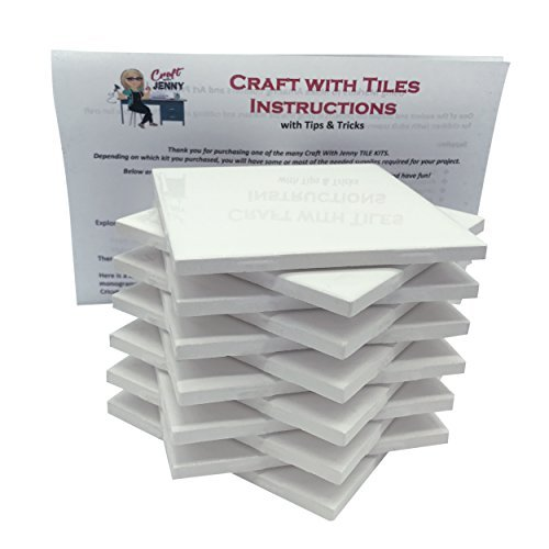 Set Ceramic Tile - Coaster Tile Craft Kit, Set of 12 Ceramic White Tiles 4x4, with Detailed Instructions plus Tips and Tricks, DIY Make Your Own Coasters, Mosaics, Painting Projects, Decoupage
