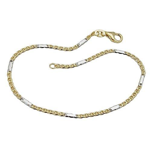 Bracelet Or, chevalet Char, bicolore, 9carats