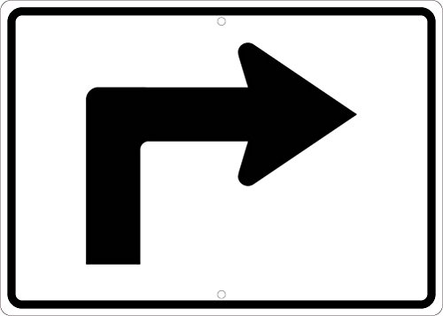NMC TM501J Advance Turn Right Arrow Sign - 21 in. x 15 in. Heavy Duty Reflective Aluminum Traffic Sign with Black Arrow Graphic on White Base