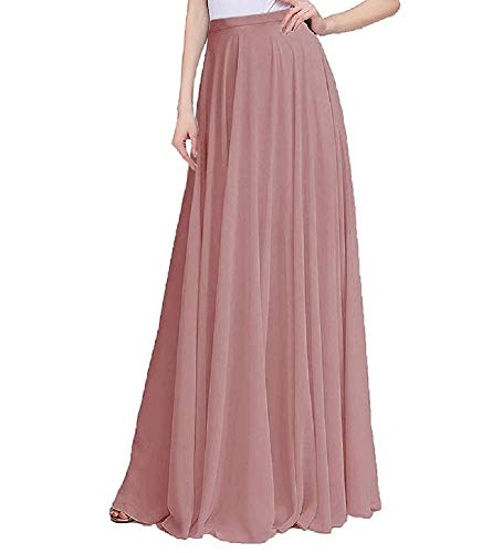 Omelas Women Long Floor Length Chiffon High Waist Skirt Maxi Bridesmaid Pary Dress (Mauve, XL)